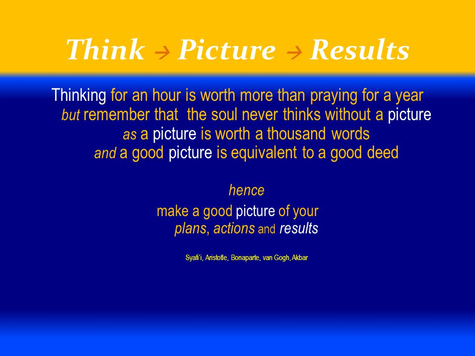 Think  Picture  Results Thinking for an hour is worth more than praying for a year but remember that the soul never thinks without a picture as a pi
