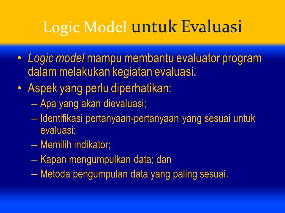Logic Model untuk Evaluasi Logic model mampu membantu evaluator program dalam melakukan kegiatan evaluasi. Aspek yang perlu diperhatikan: – Apa yang a