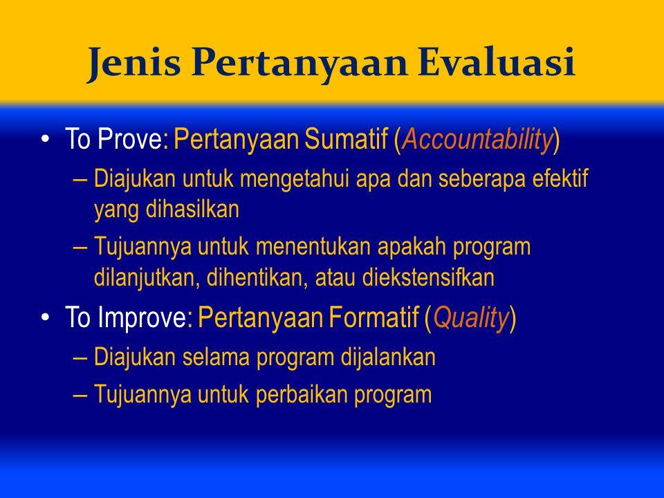 Jenis Pertanyaan Evaluasi To Prove: Pertanyaan Sumatif ( Accountability ) – Diajukan untuk mengetahui apa dan seberapa efektif yang dihasilkan – Tujuannya untuk menentukan apakah program dilanjutkan, dihentikan, atau diekstensifkan To Improve: Pertanyaan Formatif ( Quality ) – Diajukan selama program dijalankan – Tujuannya untuk perbaikan program