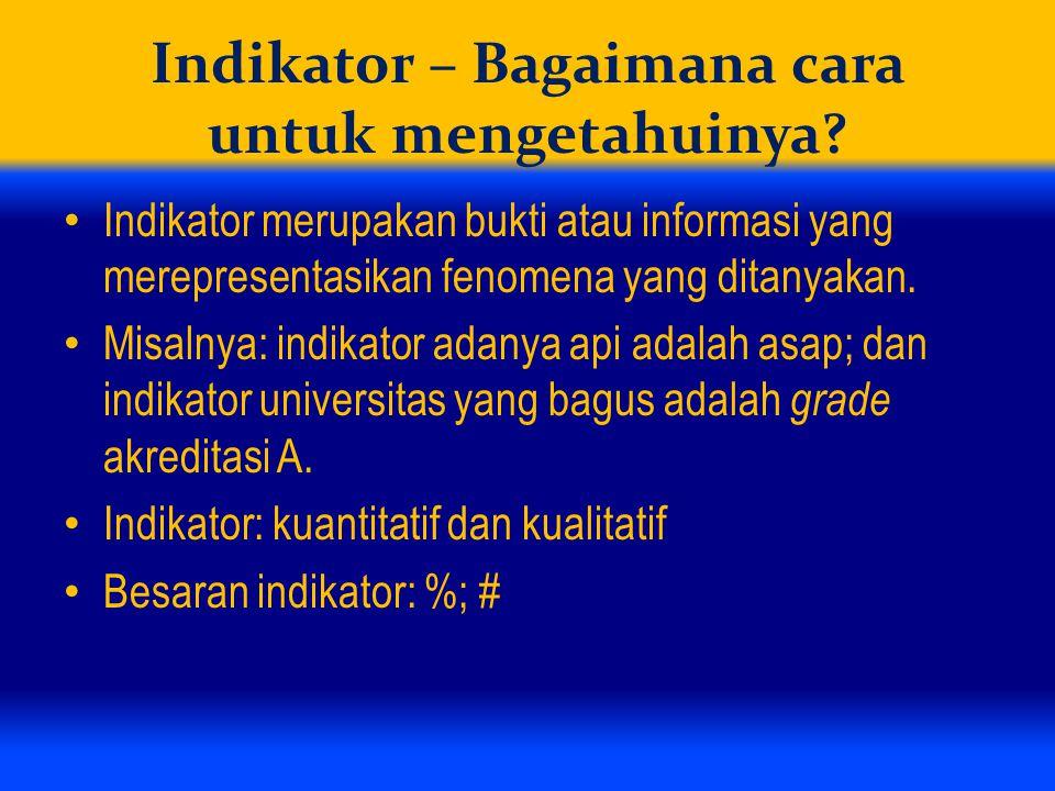 Indikator – Bagaimana cara untuk mengetahuinya? Indikator merupakan bukti atau informasi yang merepresentasikan fenomena yang ditanyakan. Misalnya: in