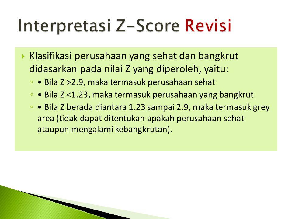  Klasifikasi perusahaan yang sehat dan bangkrut didasarkan pada nilai Z yang diperoleh, yaitu: ◦ Bila Z >2.9, maka termasuk perusahaan sehat ◦ Bila Z