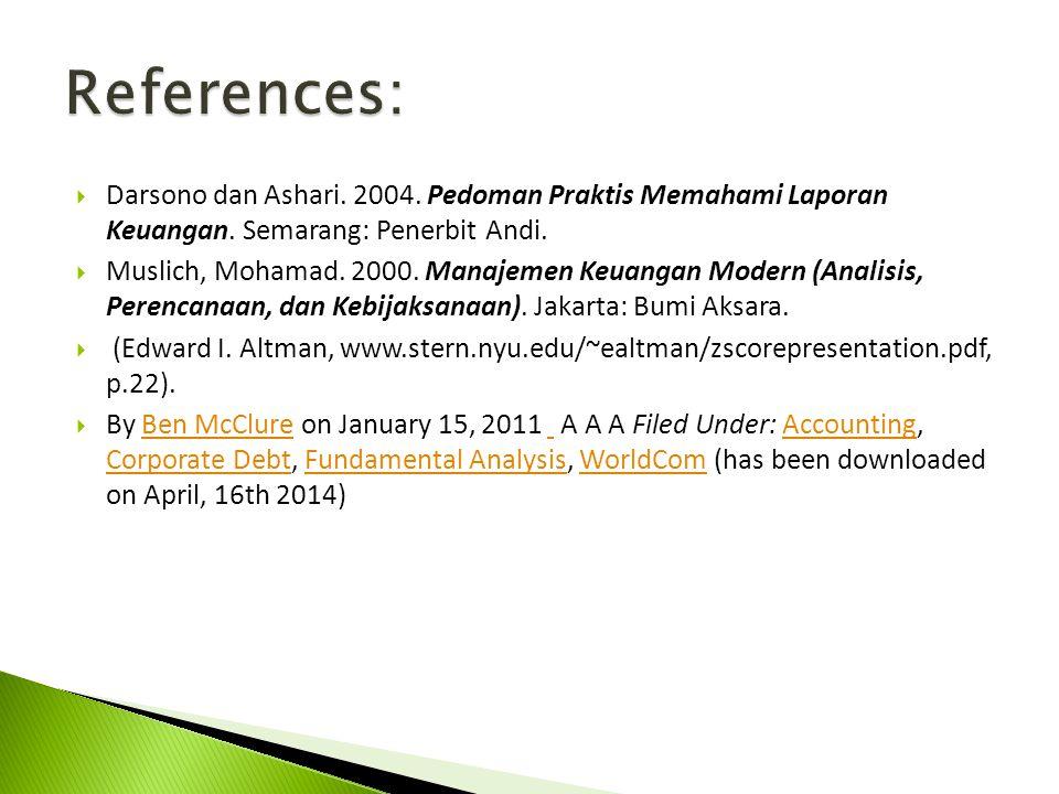  Darsono dan Ashari. 2004. Pedoman Praktis Memahami Laporan Keuangan. Semarang: Penerbit Andi.  Muslich, Mohamad. 2000. Manajemen Keuangan Modern (A