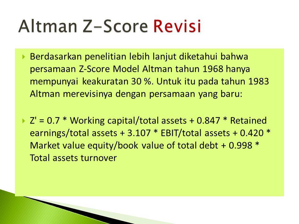  Berdasarkan penelitian lebih lanjut diketahui bahwa persamaan Z-Score Model Altman tahun 1968 hanya mempunyai keakuratan 30 %. Untuk itu pada tahun