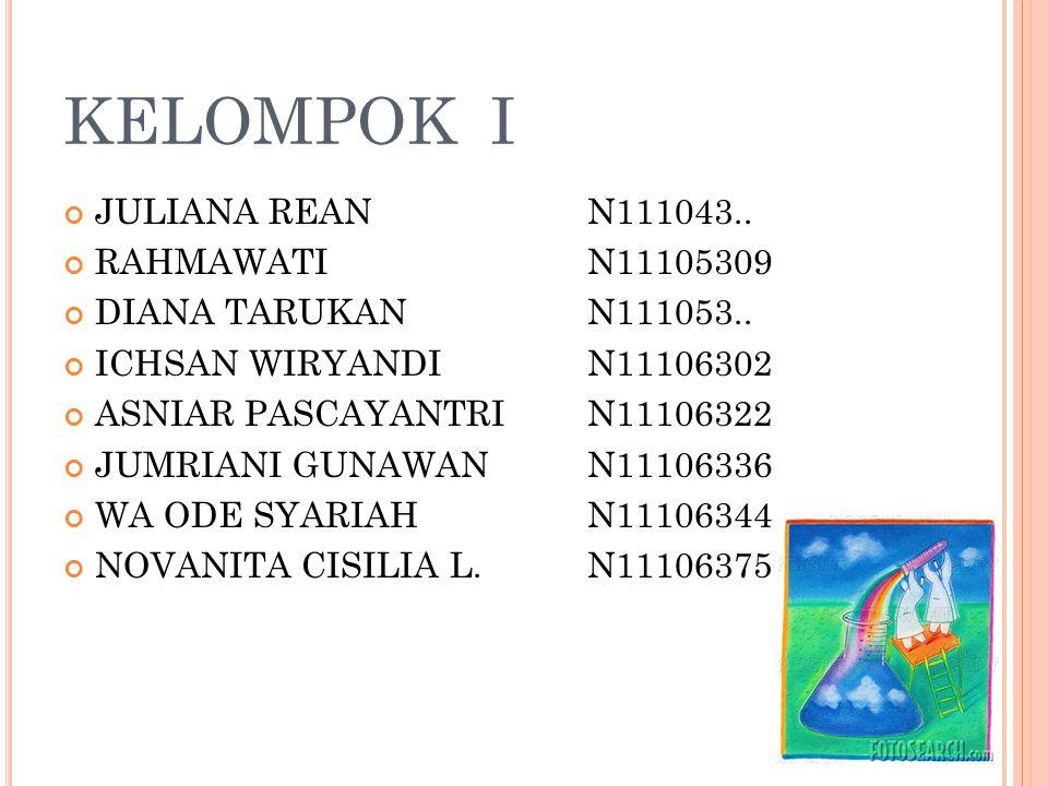 KELOMPOK I JULIANA REAN N111043..RAHMAWATI N11105309 DIANA TARUKAN N111053..
