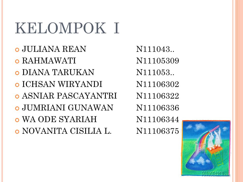 KELOMPOK I JULIANA REAN N111043.. RAHMAWATI N11105309 DIANA TARUKAN N111053.. ICHSAN WIRYANDI N11106302 ASNIAR PASCAYANTRI N11106322 JUMRIANI GUNAWAN