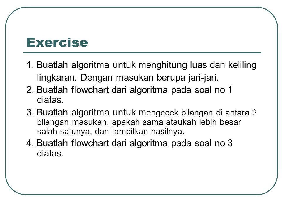 Exercise 1. Buatlah algoritma untuk menghitung luas dan keliling lingkaran. Dengan masukan berupa jari-jari. 2. Buatlah flowchart dari algoritma pada