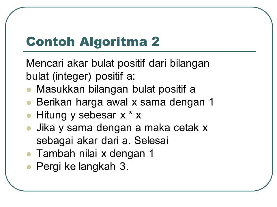 Contoh Algoritma 2 Mencari akar bulat positif dari bilangan bulat (integer) positif a: Masukkan bilangan bulat positif a Berikan harga awal x sama den