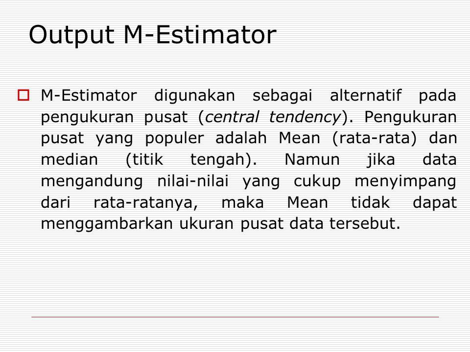 Output M-Estimator  M-Estimator digunakan sebagai alternatif pada pengukuran pusat (central tendency).