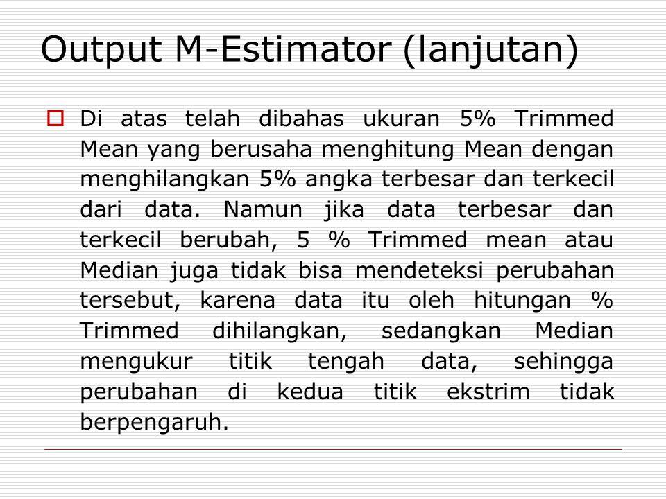  Di atas telah dibahas ukuran 5% Trimmed Mean yang berusaha menghitung Mean dengan menghilangkan 5% angka terbesar dan terkecil dari data.