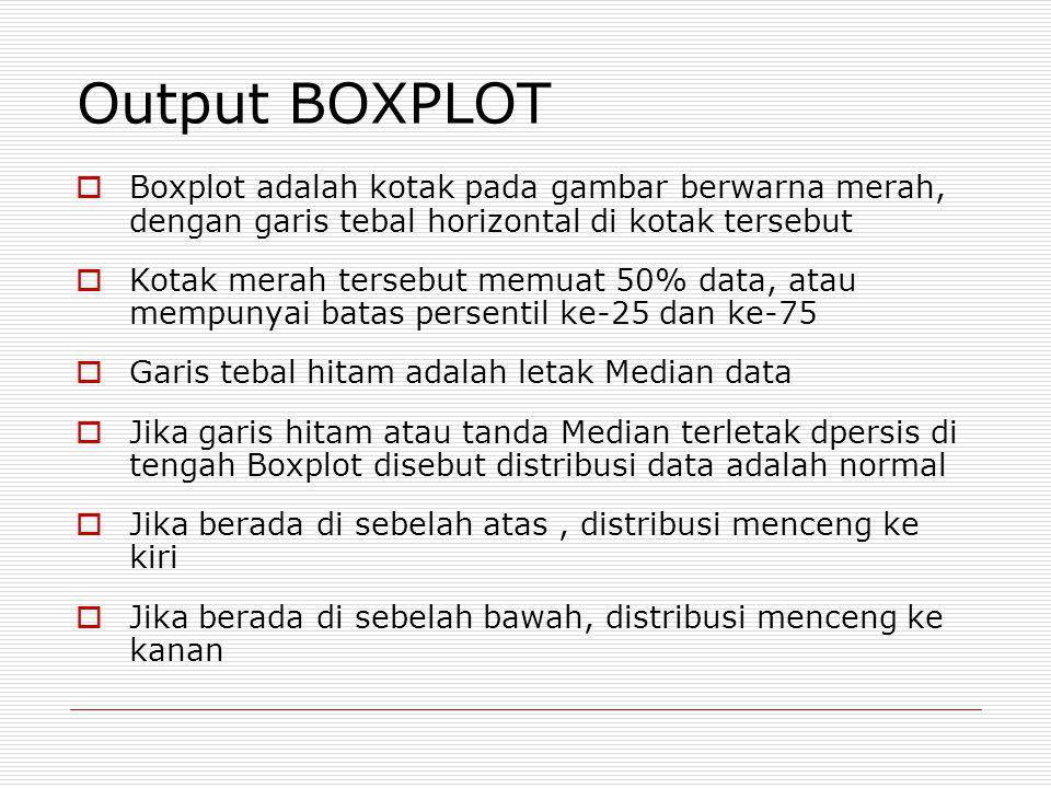 Output BOXPLOT  Boxplot adalah kotak pada gambar berwarna merah, dengan garis tebal horizontal di kotak tersebut  Kotak merah tersebut memuat 50% data, atau mempunyai batas persentil ke-25 dan ke-75  Garis tebal hitam adalah letak Median data  Jika garis hitam atau tanda Median terletak dpersis di tengah Boxplot disebut distribusi data adalah normal  Jika berada di sebelah atas, distribusi menceng ke kiri  Jika berada di sebelah bawah, distribusi menceng ke kanan