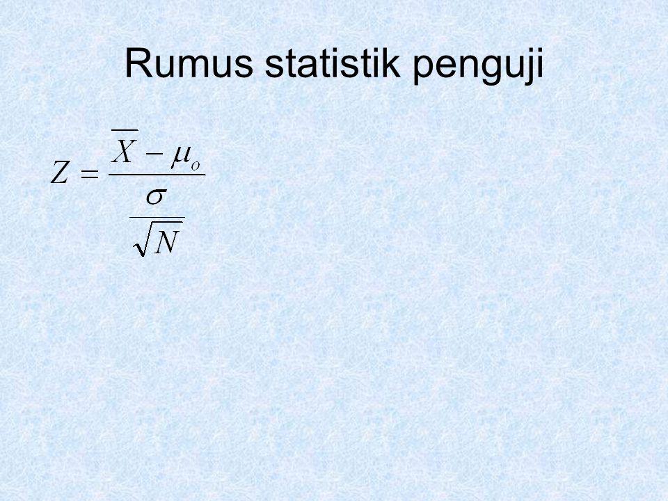 Hitung rumus statistik penguji  0 =800 ;  =20 ; X=790 ; N=6