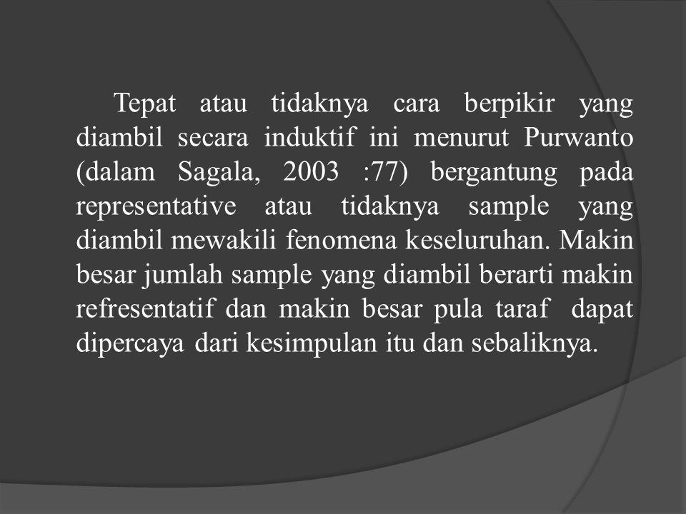 Tepat atau tidaknya cara berpikir yang diambil secara induktif ini menurut Purwanto (dalam Sagala, 2003 :77) bergantung pada representative atau tidak