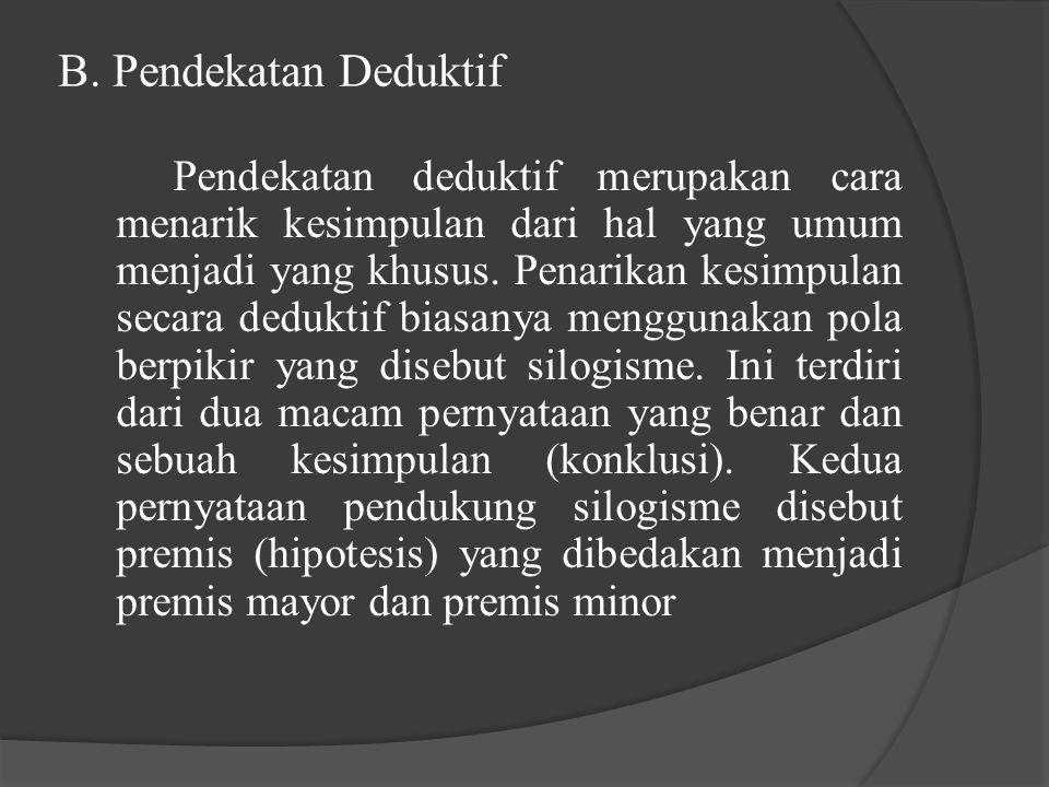 B. Pendekatan Deduktif Pendekatan deduktif merupakan cara menarik kesimpulan dari hal yang umum menjadi yang khusus. Penarikan kesimpulan secara deduk
