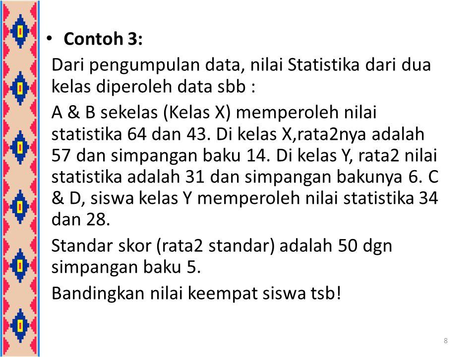 Contoh 3: Dari pengumpulan data, nilai Statistika dari dua kelas diperoleh data sbb : A & B sekelas (Kelas X) memperoleh nilai statistika 64 dan 43. D