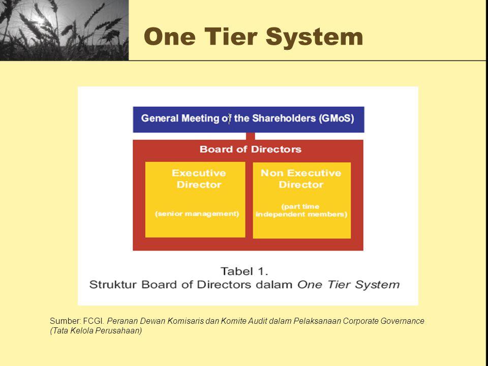 One Tier System Sumber: FCGI. Peranan Dewan Komisaris dan Komite Audit dalam Pelaksanaan Corporate Governance (Tata Kelola Perusahaan)