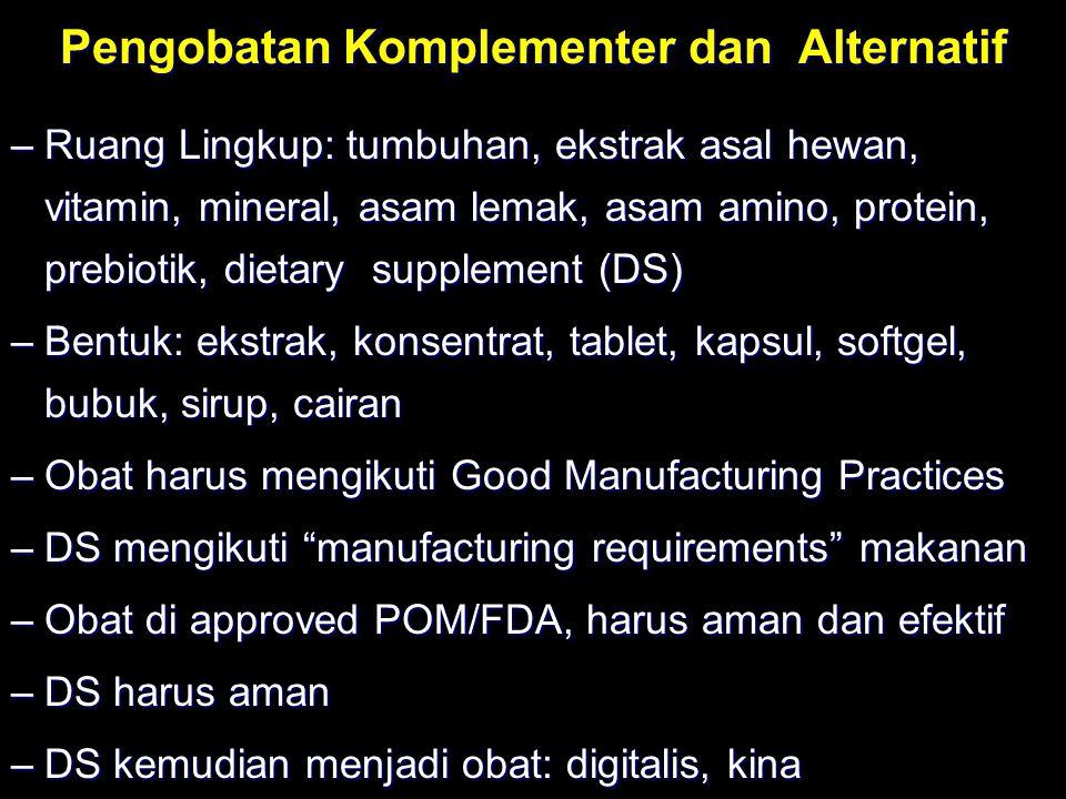 Pengobatan Komplementer dan Alternatif –Ruang Lingkup: tumbuhan, ekstrak asal hewan, vitamin, mineral, asam lemak, asam amino, protein, prebiotik, die