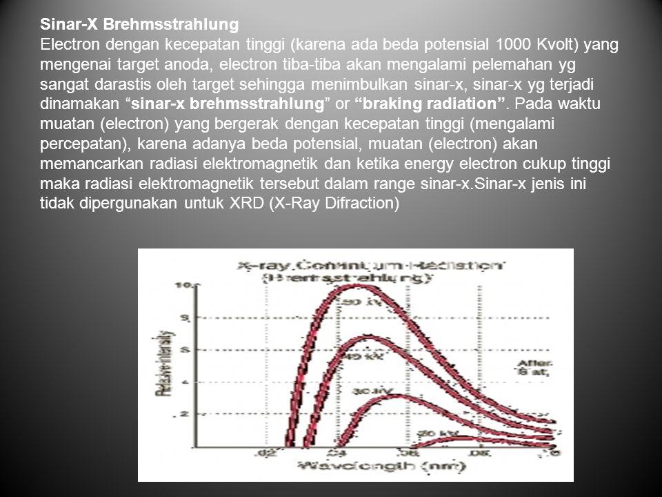Sinar-X Brehmsstrahlung Electron dengan kecepatan tinggi (karena ada beda potensial 1000 Kvolt) yang mengenai target anoda, electron tiba-tiba akan mengalami pelemahan yg sangat darastis oleh target sehingga menimbulkan sinar-x, sinar-x yg terjadi dinamakan sinar-x brehmsstrahlung or braking radiation .