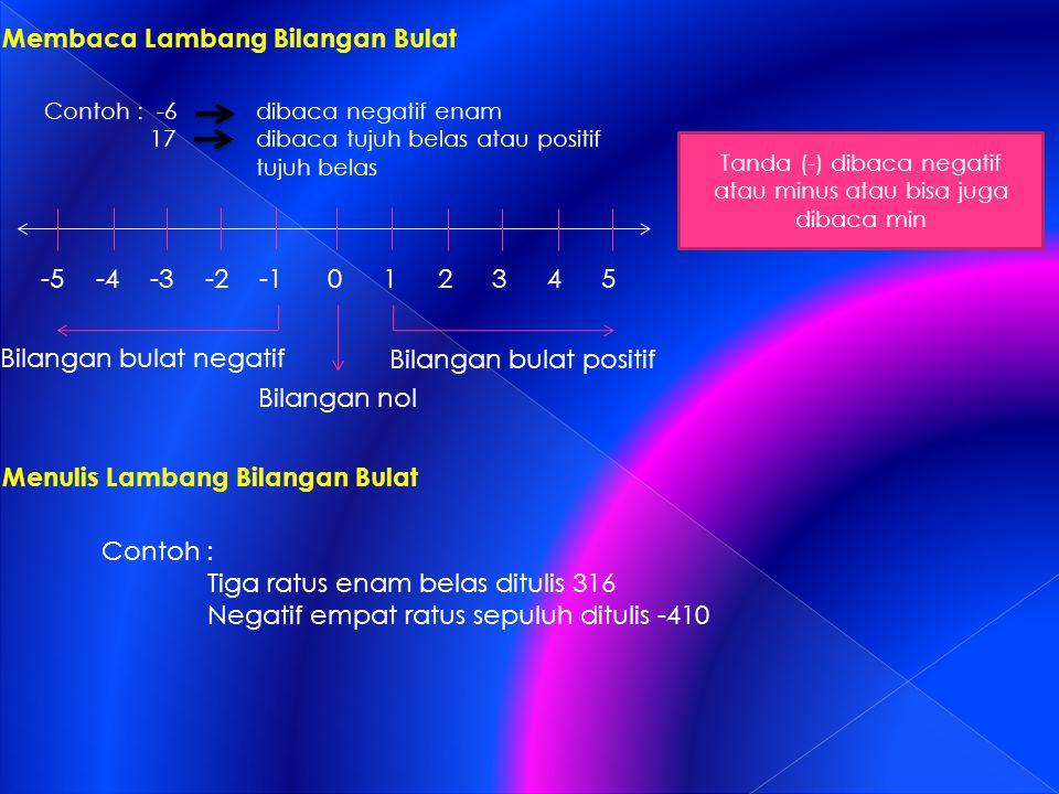 Membaca Lambang Bilangan Bulat -5-4-3-2012543 Bilangan nol Bilangan bulat negatif Bilangan bulat positif Tanda (-) dibaca negatif atau minus atau bisa