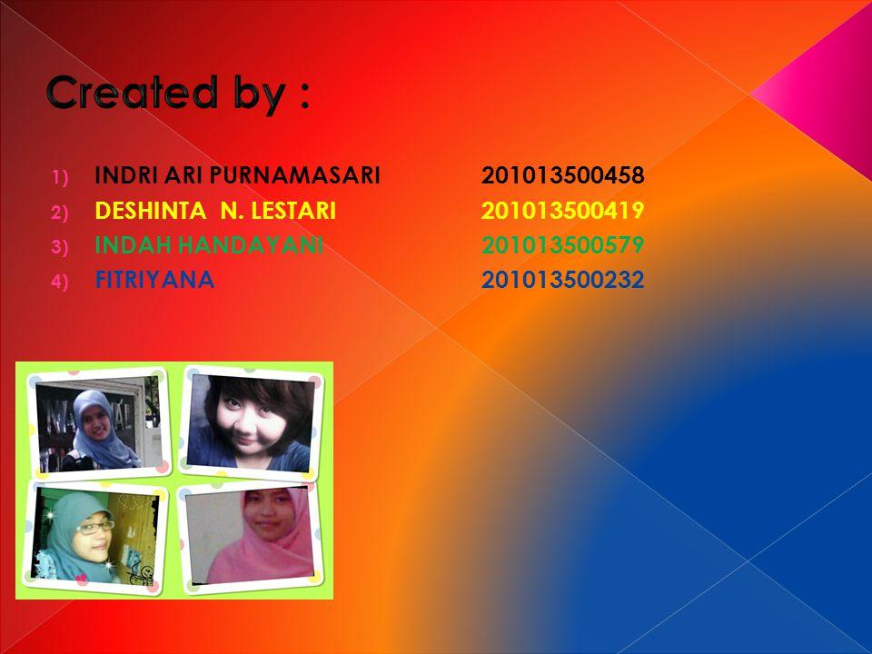 1) INDRI ARI PURNAMASARI201013500458 2) DESHINTA N. LESTARI201013500419 3) INDAH HANDAYANI201013500579 4) FITRIYANA 201013500232