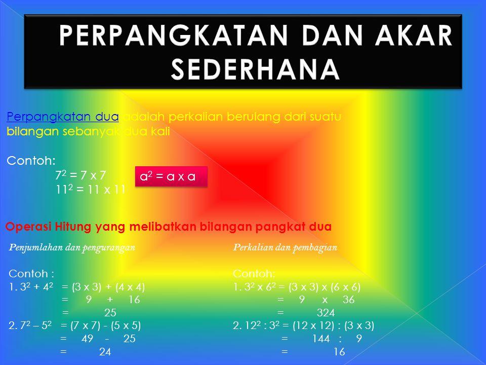Perpangkatan dua adalah perkalian berulang dari suatu bilangan sebanyak dua kali Contoh: 7 2 = 7 x 7 11 2 = 11 x 11 a 2 = a x a Operasi Hitung yang me
