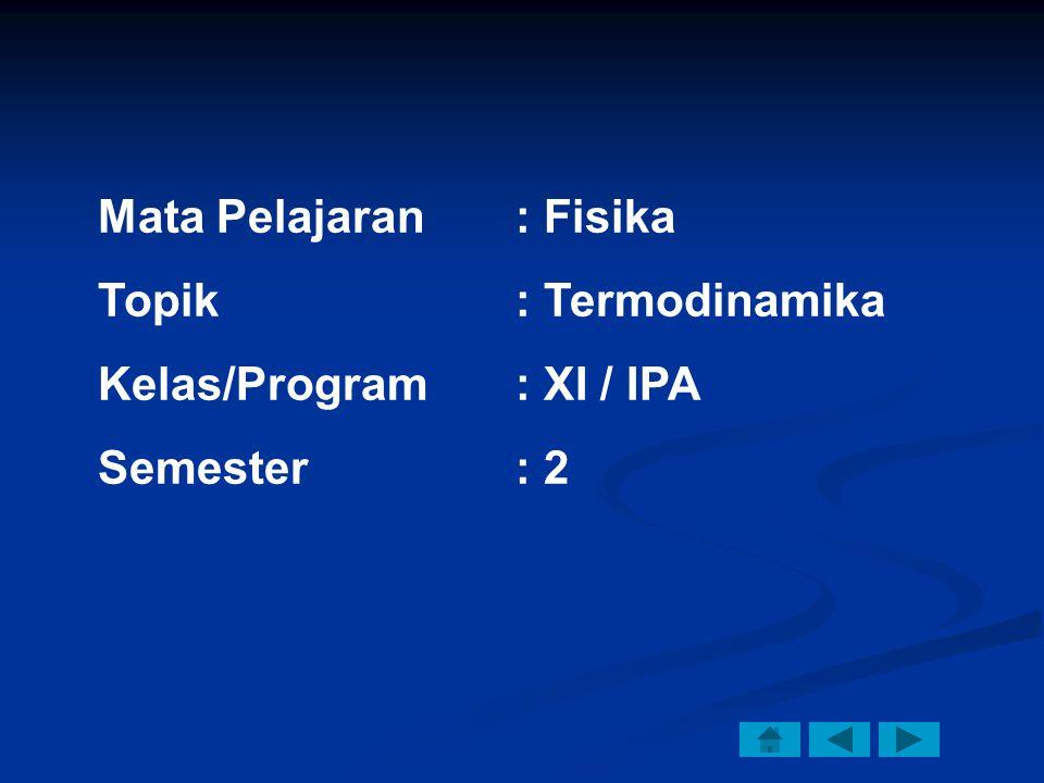 Mata Pelajaran: Fisika Topik: Termodinamika Kelas/Program: XI / IPA Semester: 2