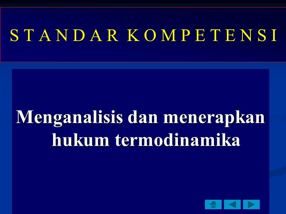 S T A N D A R K O M P E T E N S I Menganalisis dan menerapkan hukum termodinamika