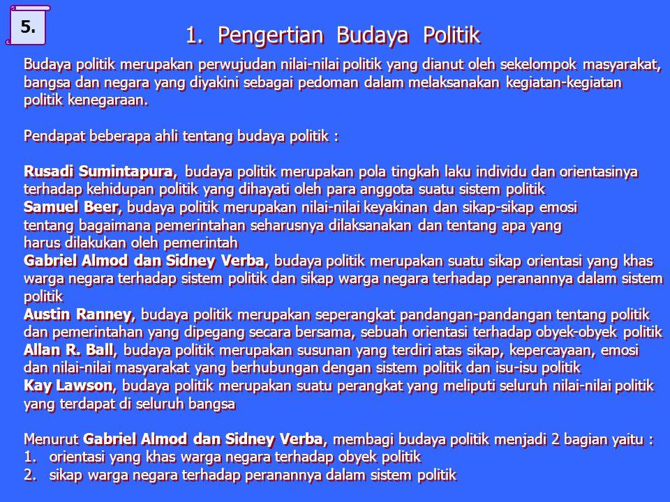 1. Pengertian budaya politik 2. Ciri-ciri budaya politik 3. Macam-macam budaya politik 4. Faktor penyebab berkembangnya budaya politik di suatu daerah