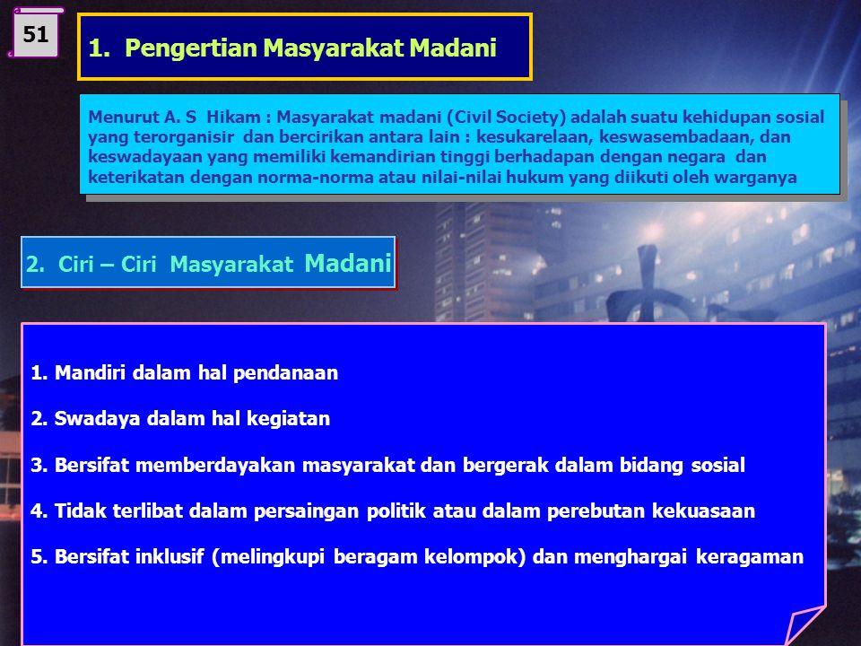 B. Masyarakat Madani STANDAR KOMPETENSI 2 Menampilkan sikap positif terhadap sistem hukum dan peradilan nasional Kompetensi Dasar : 2.2 Mengidentifika