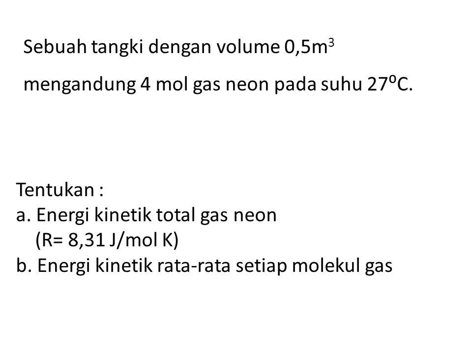 Tentukan : a.Energi kinetik total gas neon (R= 8,31 J/mol K) b.