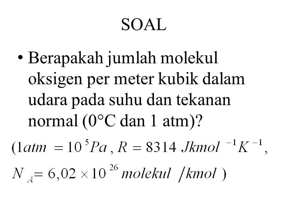 SOAL Berapakah jumlah molekul oksigen per meter kubik dalam udara pada suhu dan tekanan normal (0°C dan 1 atm)?