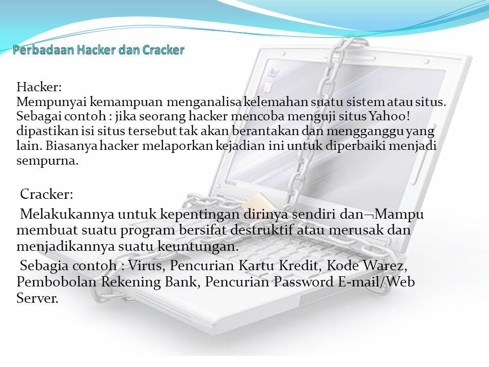 Hacker: Mempunyai kemampuan menganalisa kelemahan suatu sistem atau situs. Sebagai contoh : jika seorang hacker mencoba menguji situs Yahoo! dipastika