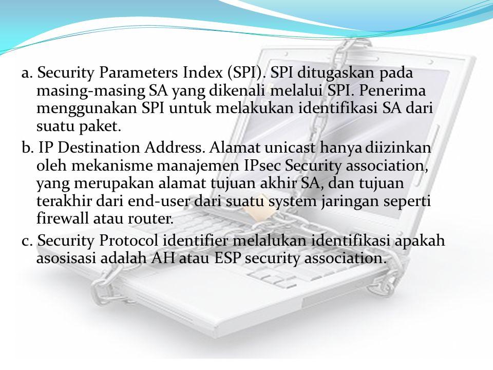 a. Security Parameters Index (SPI). SPI ditugaskan pada masing-masing SA yang dikenali melalui SPI. Penerima menggunakan SPI untuk melakukan identifik