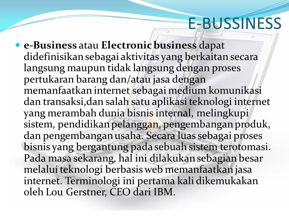 E-BUSSINESS e-Business atau Electronic business dapat didefinisikan sebagai aktivitas yang berkaitan secara langsung maupun tidak langsung dengan pros