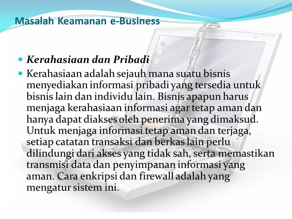 Masalah Keamanan e-Business Kerahasiaan dan Pribadi Kerahasiaan adalah sejauh mana suatu bisnis menyediakan informasi pribadi yang tersedia untuk bisn