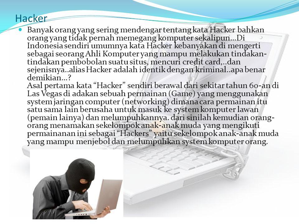 Hacker Banyak orang yang sering mendengar tentang kata Hacker bahkan orang yang tidak pernah memegang komputer sekalipun…Di Indonesia sendiri umumnya