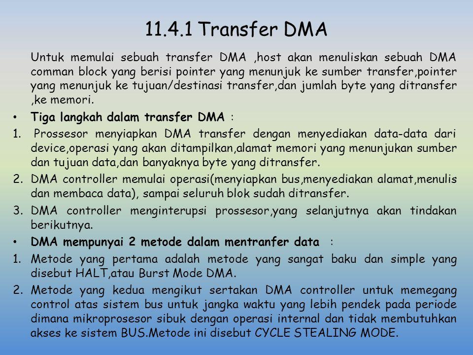 11.4.1 Transfer DMA Untuk memulai sebuah transfer DMA,host akan menuliskan sebuah DMA comman block yang berisi pointer yang menunjuk ke sumber transfe
