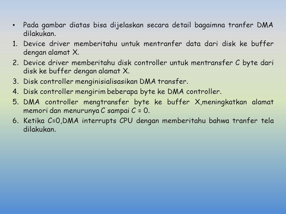 Pada gambar diatas bisa dijelaskan secara detail bagaimna tranfer DMA dilakukan. 1.Device driver memberitahu untuk mentranfer data dari disk ke buffer