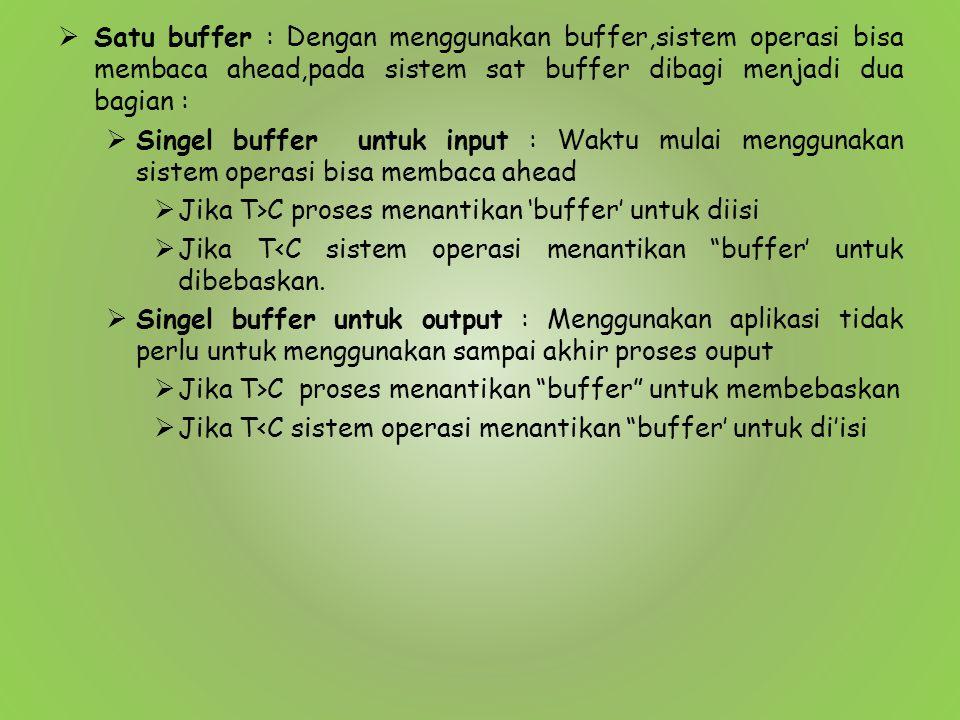  Satu buffer : Dengan menggunakan buffer,sistem operasi bisa membaca ahead,pada sistem sat buffer dibagi menjadi dua bagian :  Singel buffer untuk i