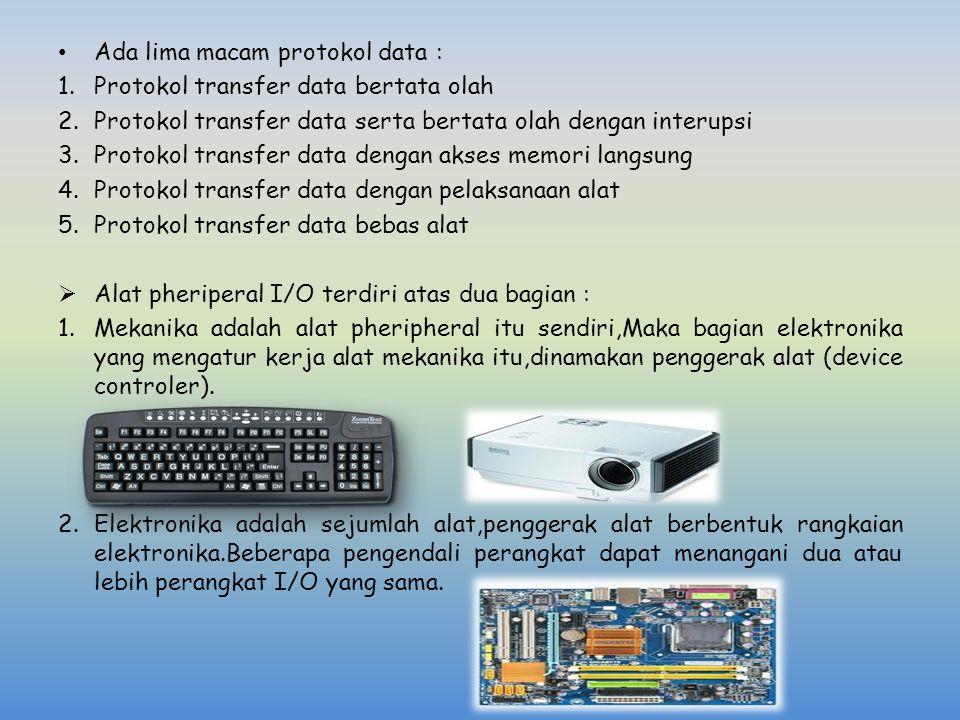Ada lima macam protokol data : 1.Protokol transfer data bertata olah 2.Protokol transfer data serta bertata olah dengan interupsi 3.Protokol transfer