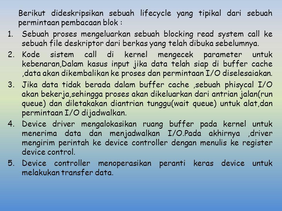 Berikut dideskripsikan sebuah lifecycle yang tipikal dari sebuah permintaan pembacaan blok : 1.Sebuah proses mengeluarkan sebuah blocking read system
