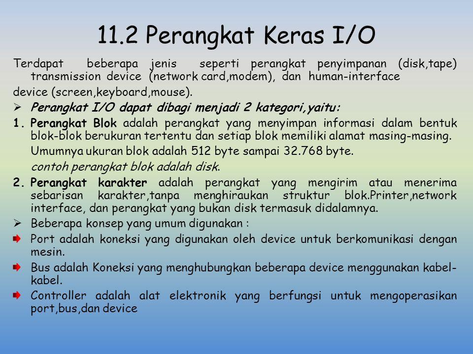 11.2 Perangkat Keras I/O Terdapat beberapa jenis seperti perangkat penyimpanan (disk,tape) transmission device (network card,modem), dan human-interfa