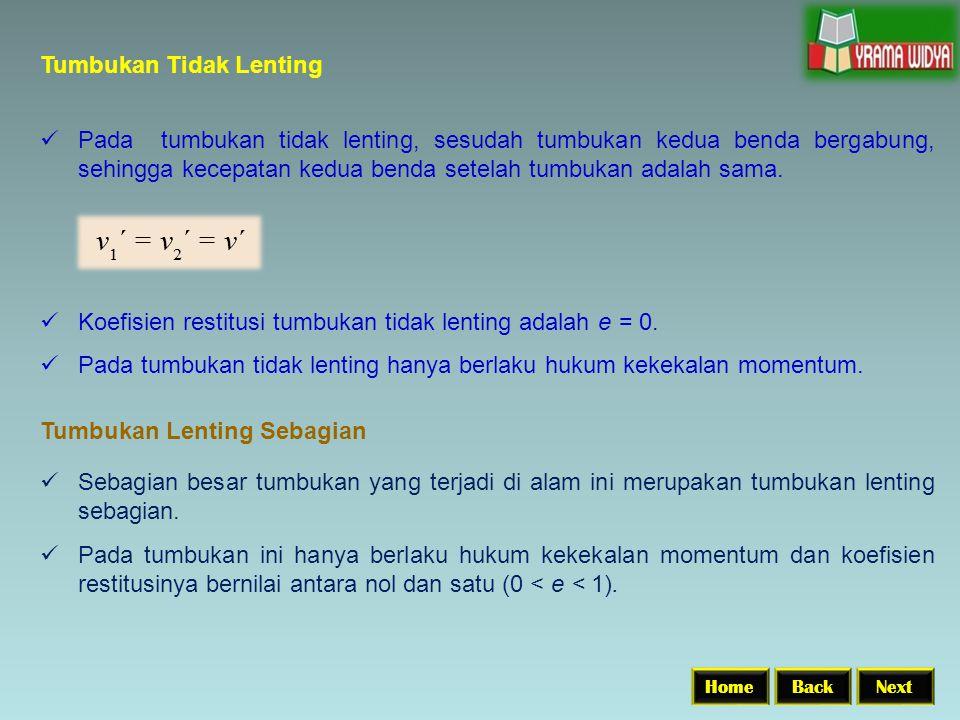 Tumbukan Tidak Lenting BackNextHome Pada tumbukan tidak lenting, sesudah tumbukan kedua benda bergabung, sehingga kecepatan kedua benda setelah tumbukan adalah sama.
