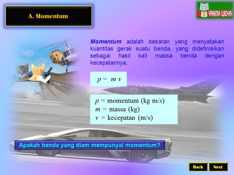 A. Momentum BackNext Momentum adalah besaran yang menyatakan kuantitas gerak suatu benda, yang didefinisikan sebagai hasil kali massa benda dengan kec