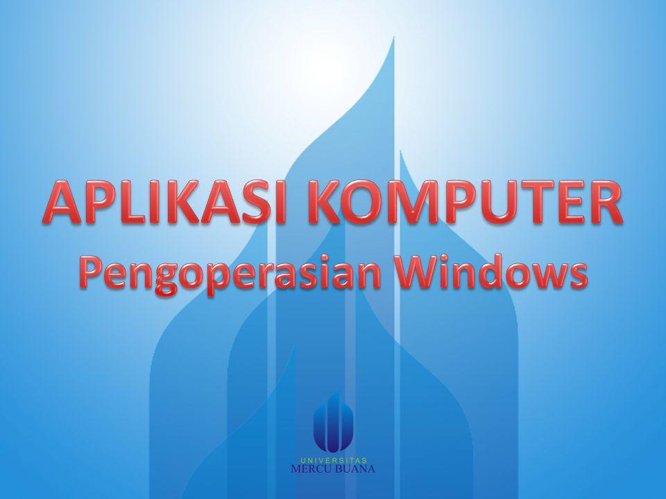 22/08/2014 Karakteristik Window Judul Empat macam tombol yang terletak pada sudut kanan atas window Menu bar