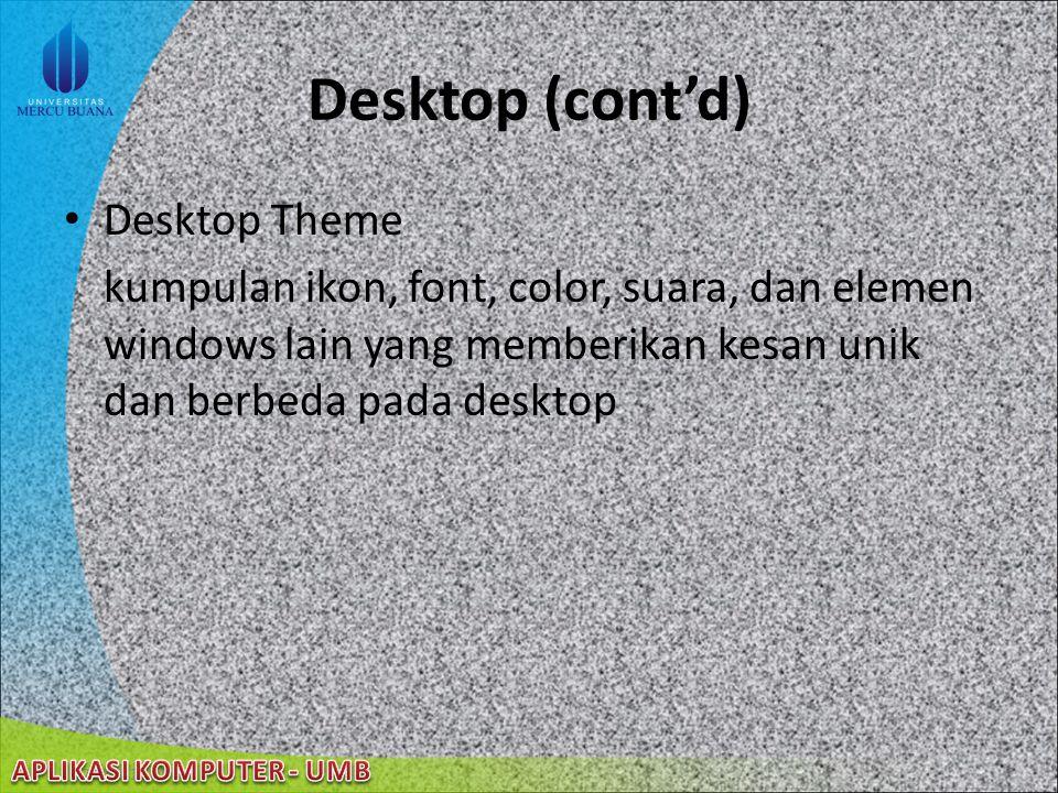 22/08/2014 Desktop Area luas yang dikenal dengan desktop Sebuah area lagi yang lebih sempit yang dikenal dengan taskbar