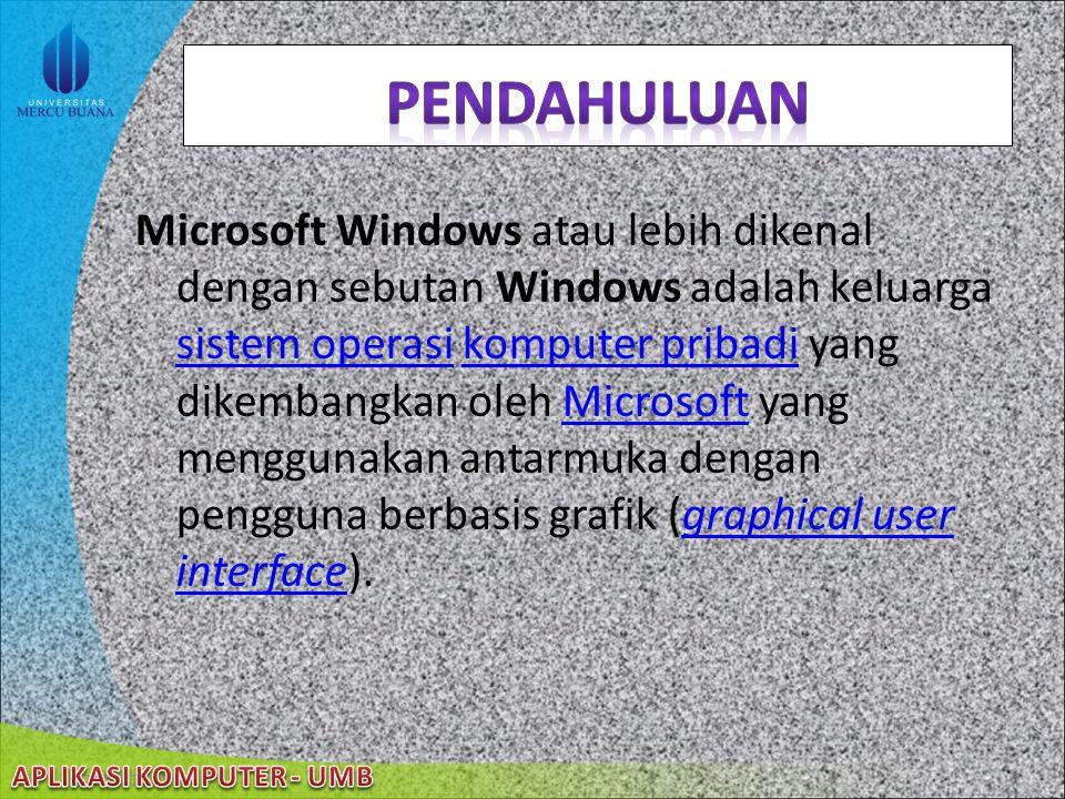 Microsoft Windows atau lebih dikenal dengan sebutan Windows adalah keluarga sistem operasi komputer pribadi yang dikembangkan oleh Microsoft yang menggunakan antarmuka dengan pengguna berbasis grafik (graphical user interface).