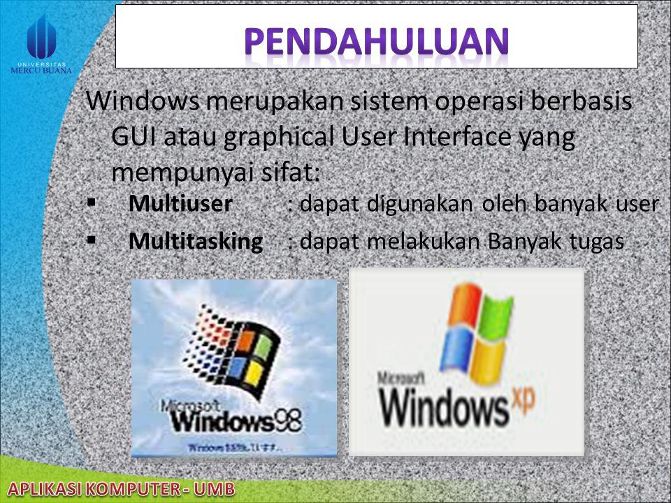 22/08/2014 Windows merupakan sistem operasi berbasis GUI atau graphical User Interface yang mempunyai sifat:  Multiuser : dapat digunakan oleh banyak user  Multitasking : dapat melakukan Banyak tugas