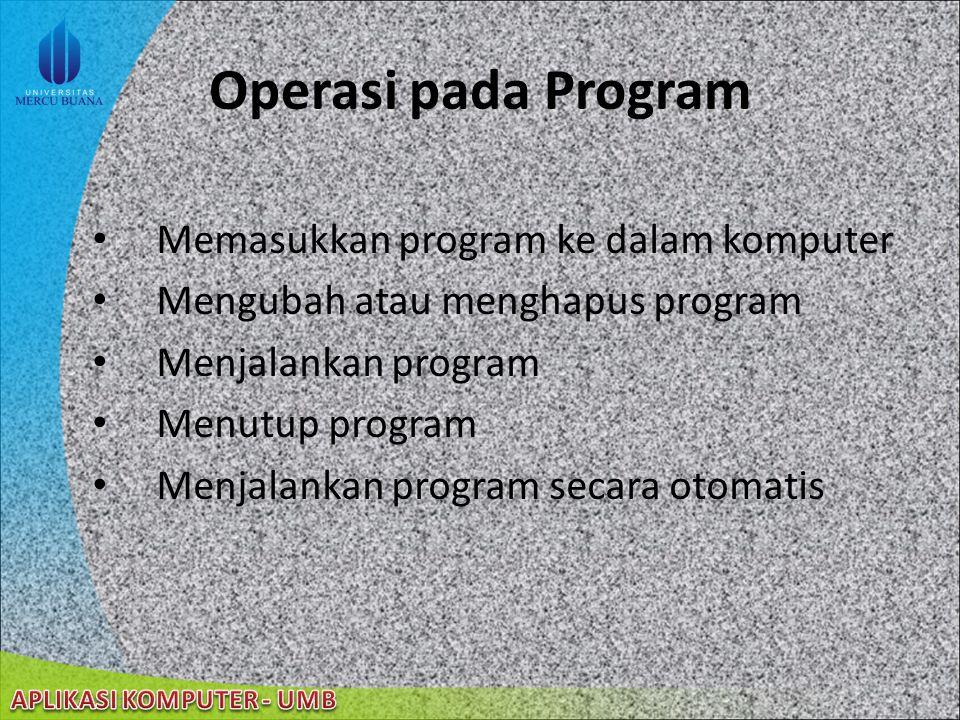 22/08/2014 Program sekumpulan instruksi yang digunakan untuk tujuan tertentu disebut juga aplikasi atau program aplikasi