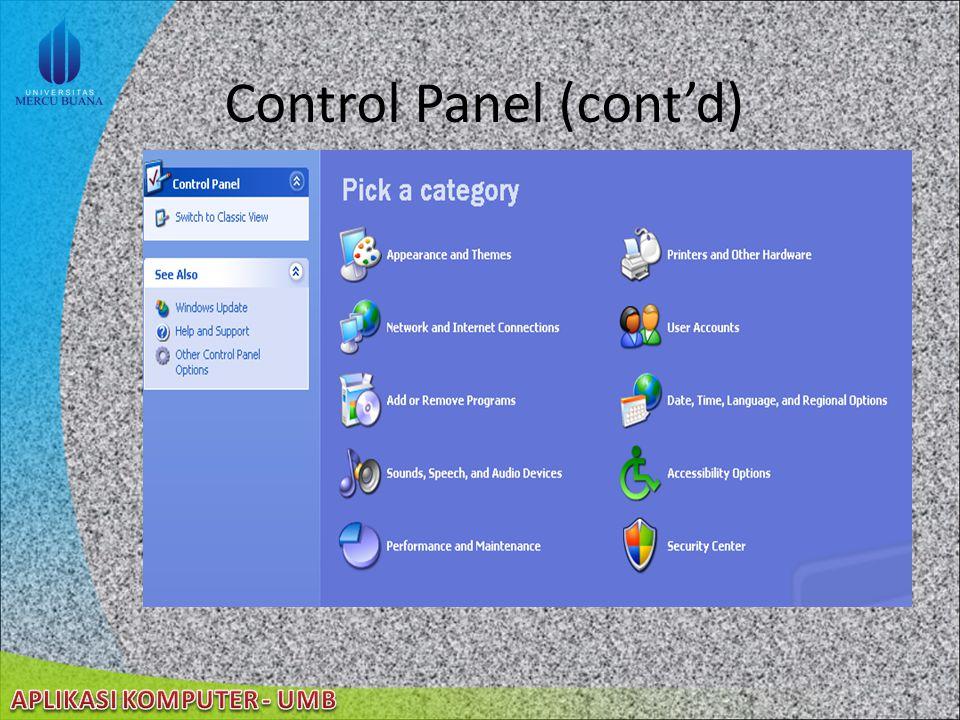 22/08/2014 Control Panel Kumpulan tool khusus yang digunakan untuk mengatur segala hal berkenaan dengan Windows XP Windows XP memiliki sebuah fitur be