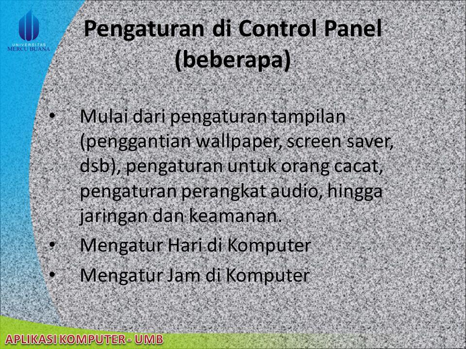 22/08/2014 Control Panel (cont'd)